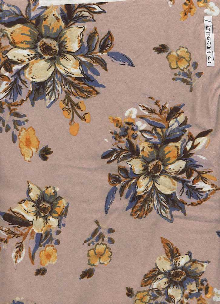 D2052-FL3434 / C#2 NUDE/YELLOW / DT8. 95%POLY 5%SPAN DTY BRUSHED PRINT