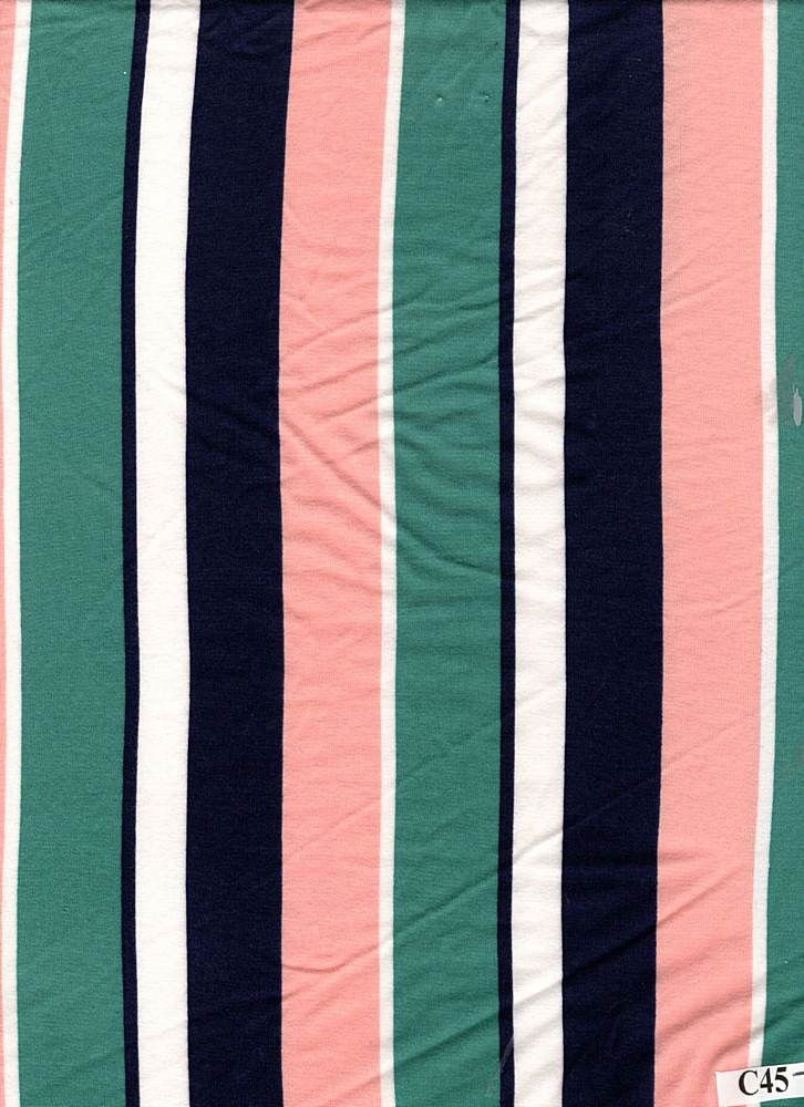 D2052-ST50149 / C45 PEACH/NAVY / DT8. 95%POLY 5%SPAN DTY BRUSHED PRINT