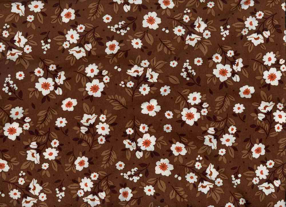D2052-FL51472 / C6 BROWN/RUST / DT8. 95%POLY 5%SPAN DTY BRUSHED PRINT