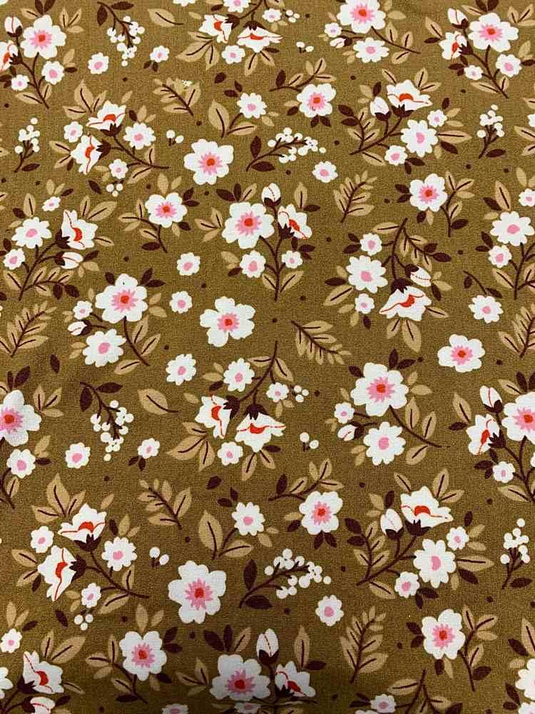 D2052-FL51472 C9 MOCHA/PINK BRUSH PRINT FLOWERS